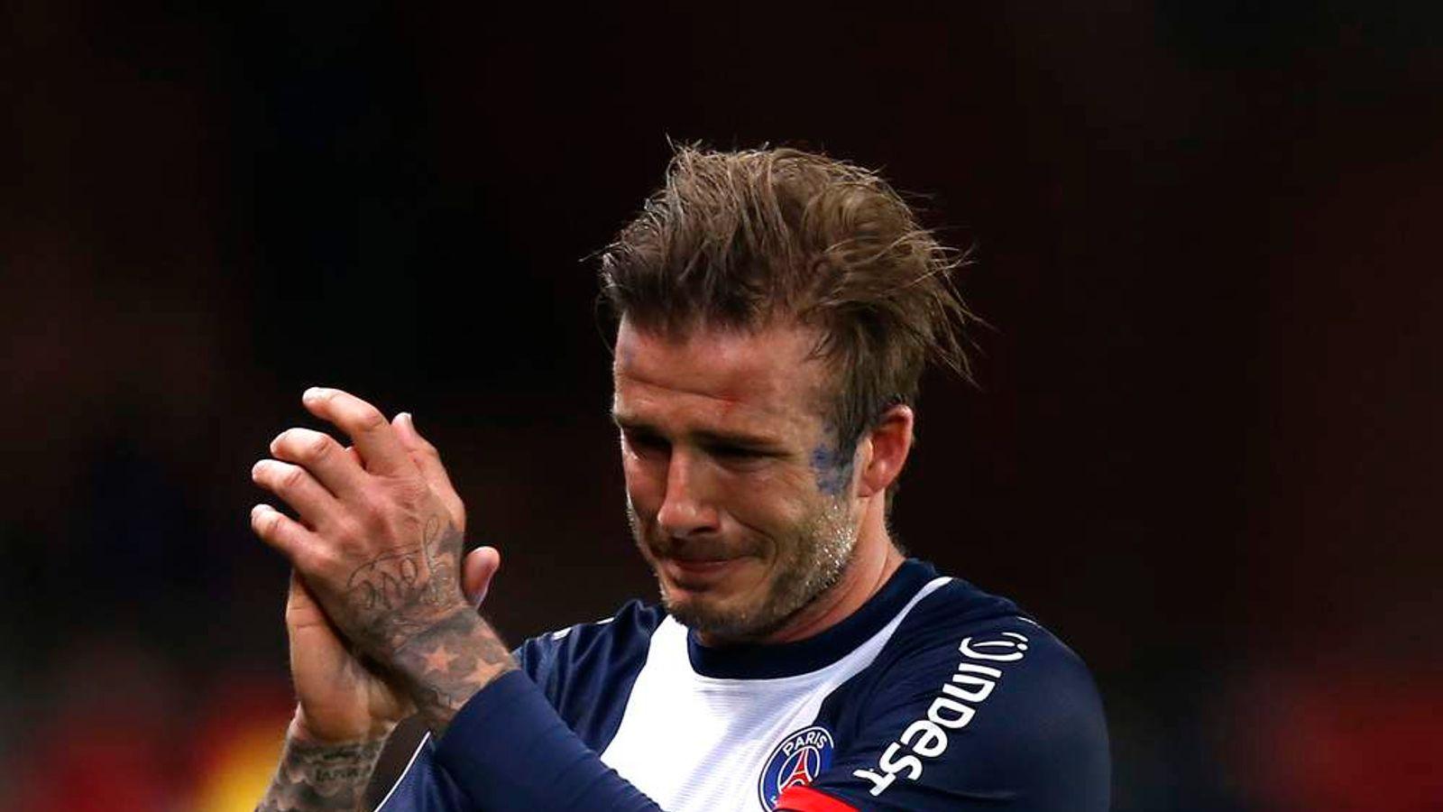 Paris Saint-Germain's Beckham reacts at the end of his team's French Ligue 1 soccer match against Brest at the Parc des Princes stadium in Paris