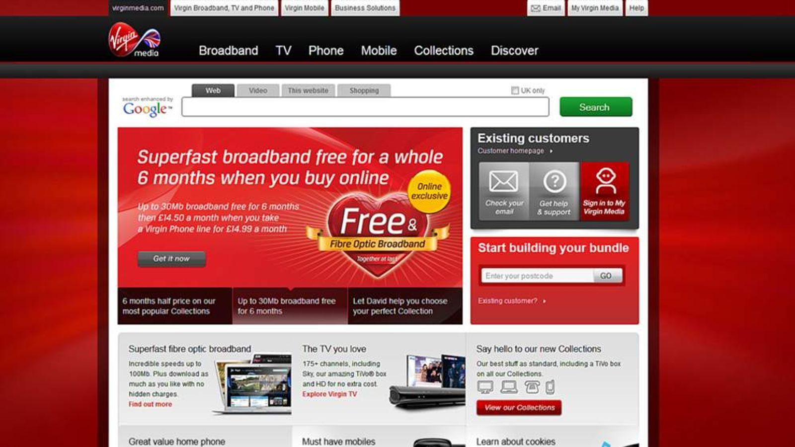 The Virgin Media website