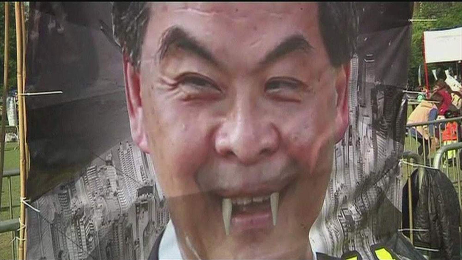 Poster depicting Hong Kong leader  Leung Chun-ying as a vampire