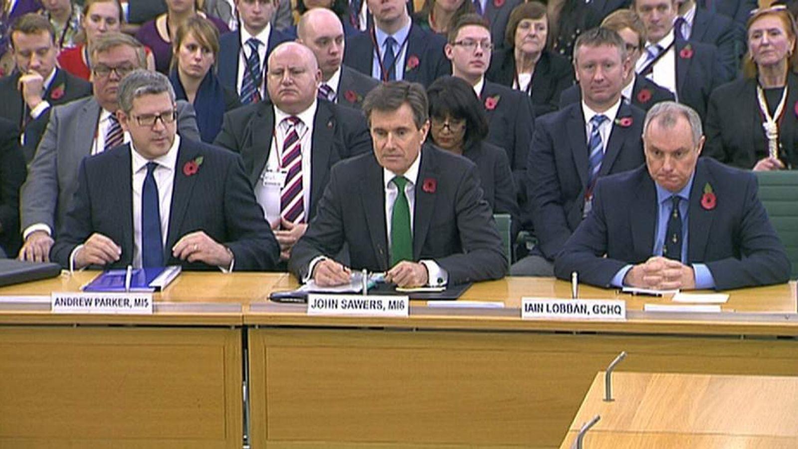heads of MI5 MI6 and GCHQ
