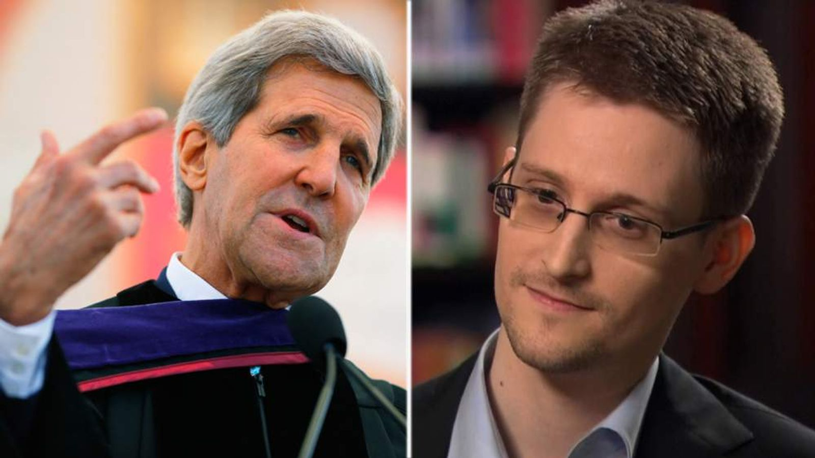 John Kerry and Edward Snowden