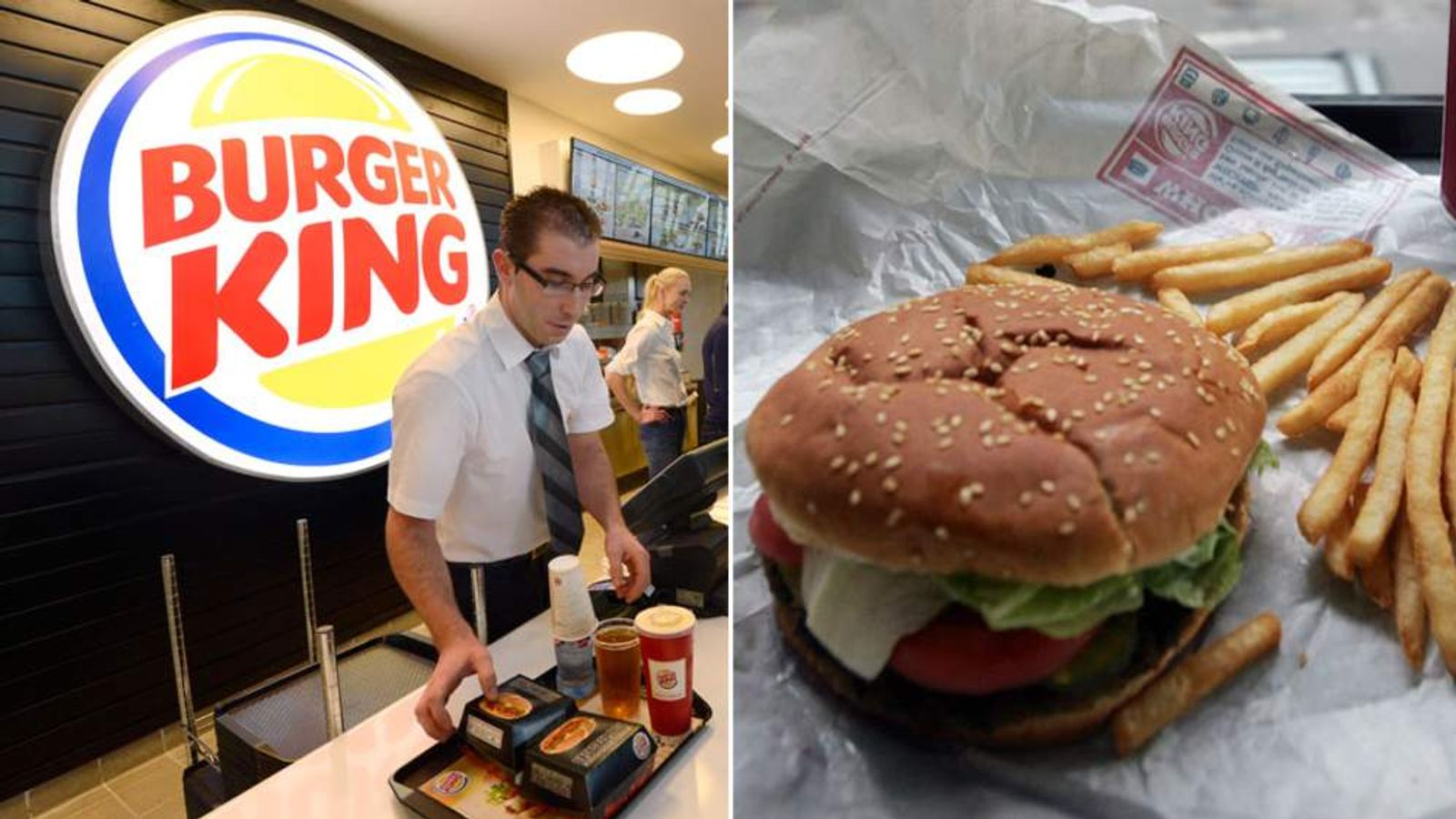 A Burger King employee serves up a tray of food.