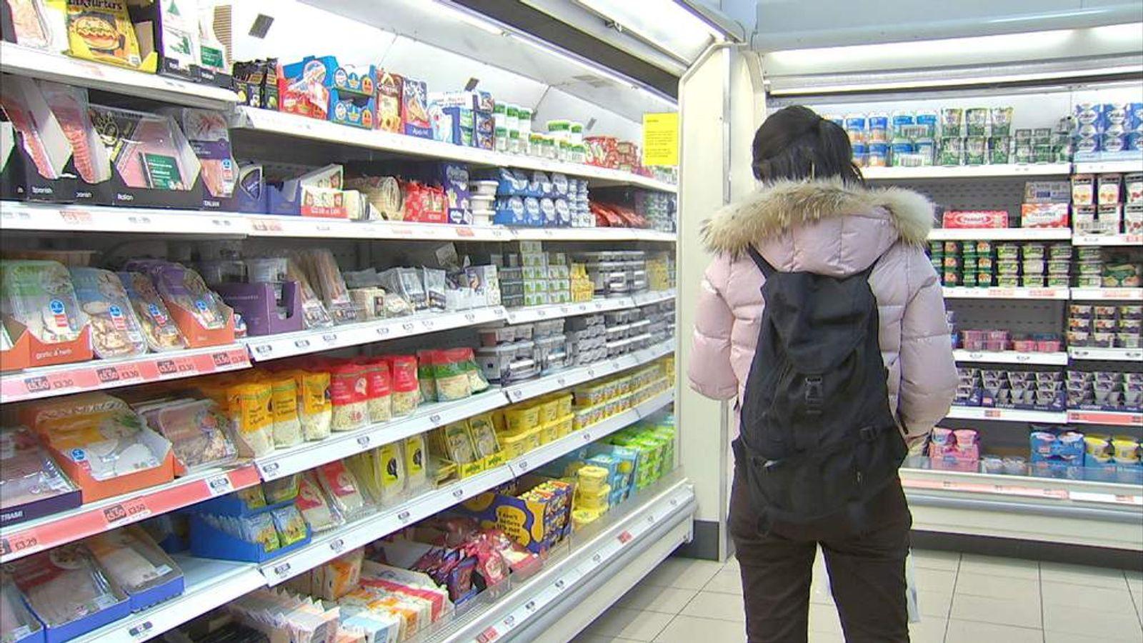 Sainsbury's food on shelves