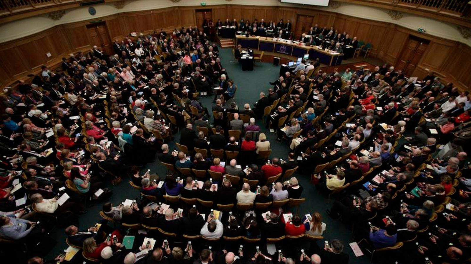 General view of a meeting of the General Synod of the Church of England