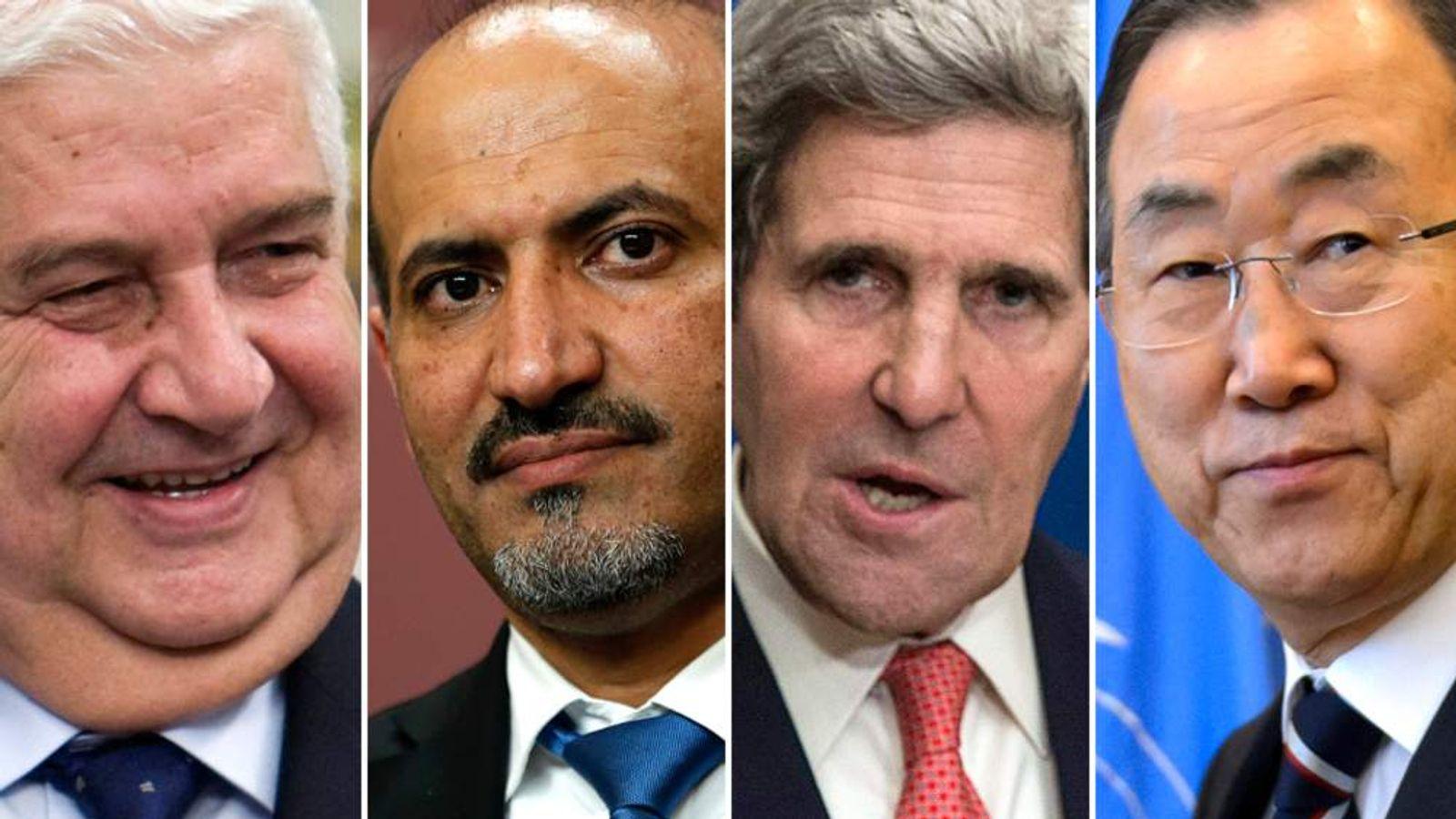 Walid al Muallem, Ahmed Jarba, John Kerry, Ban Ki-moon