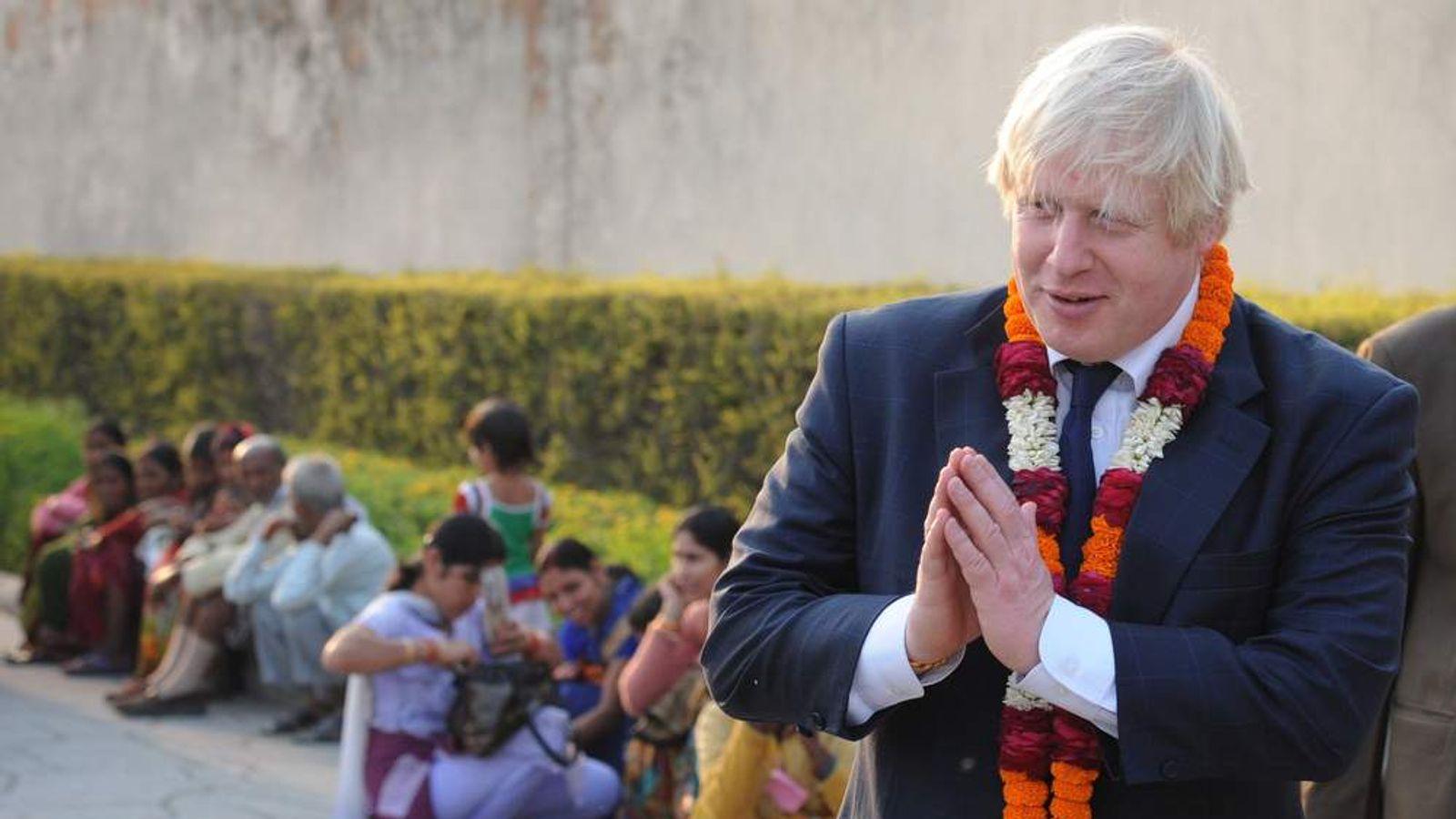 London Mayor Boris Johnson visits the Akshardham Temple in New Delhi