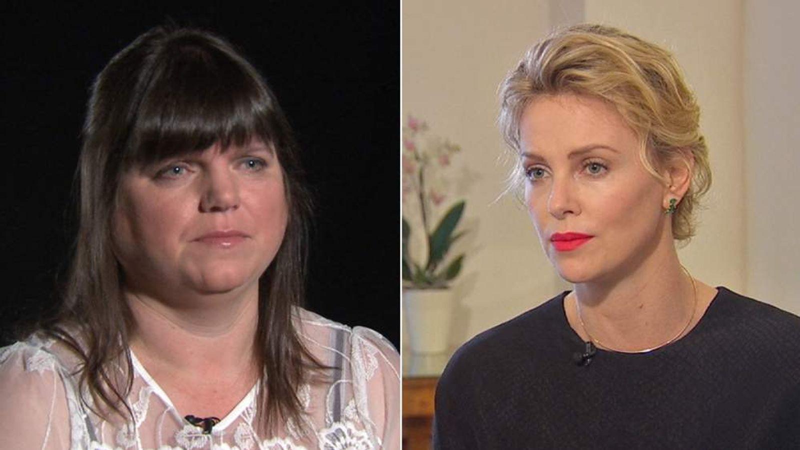 Rape victim Jill Saward (left) and actress Charlize Theron (right).