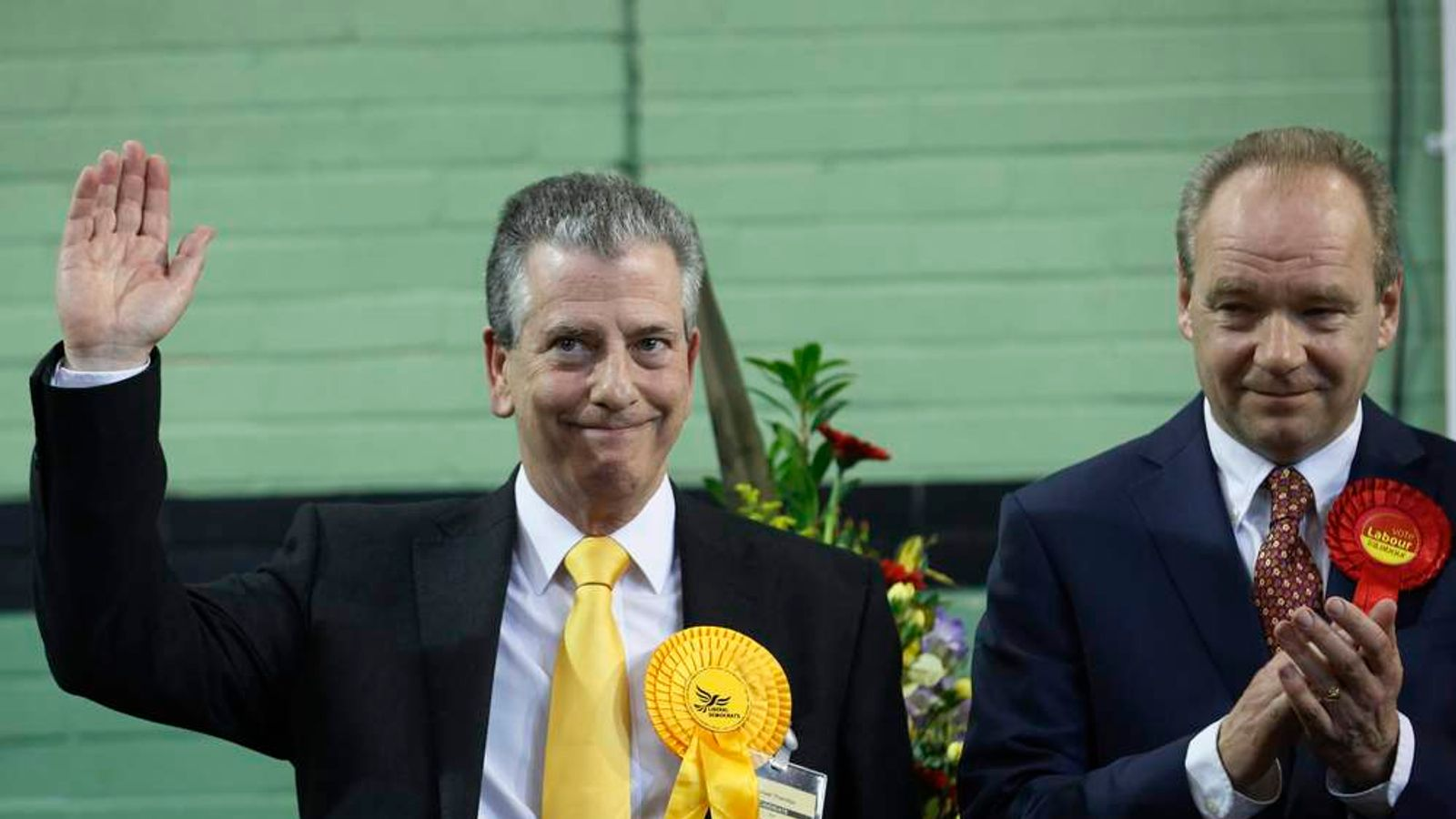 Liberal Democrat candidate Thornton celebrates his win
