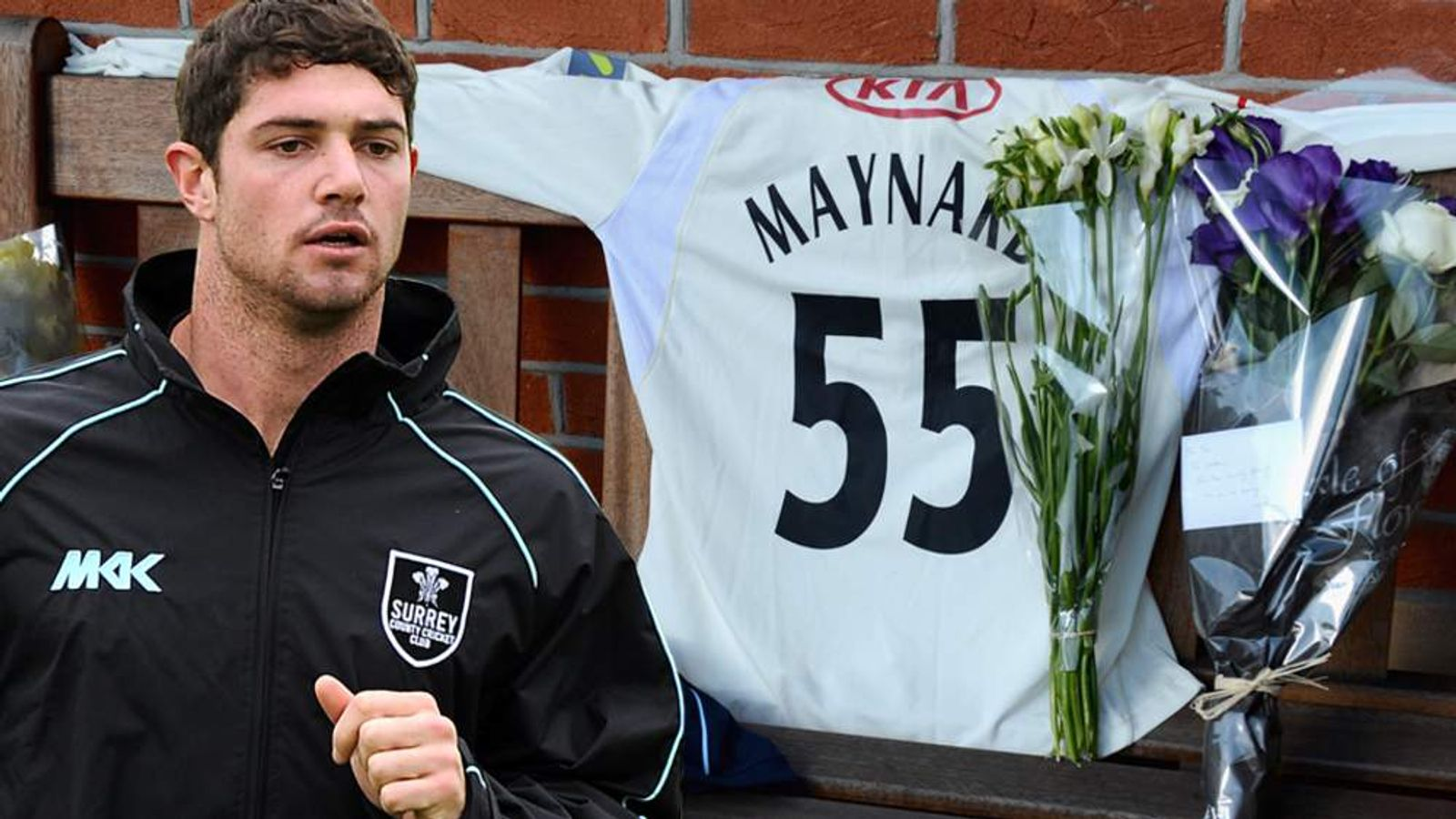 Floral tributes to Surrey cricketer Tom Maynard