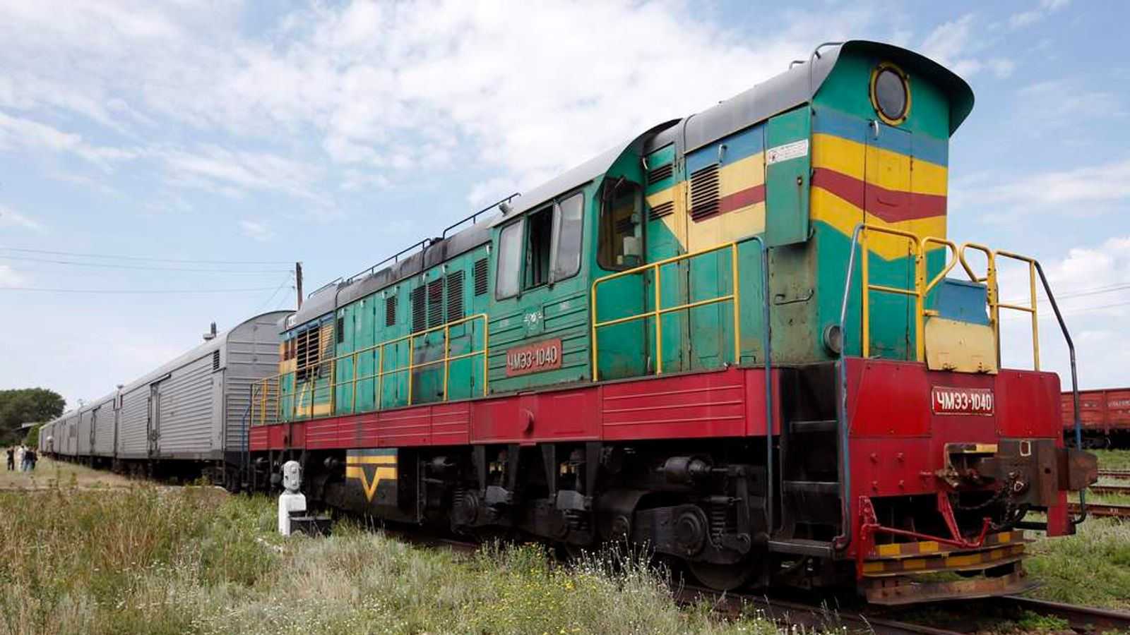 A train of refrigerator wagons, which according to employees and local residents contain bodies of passengers of the crashed Malaysia Airlines Boeing 777 plane, at a railway station in the town of Torez