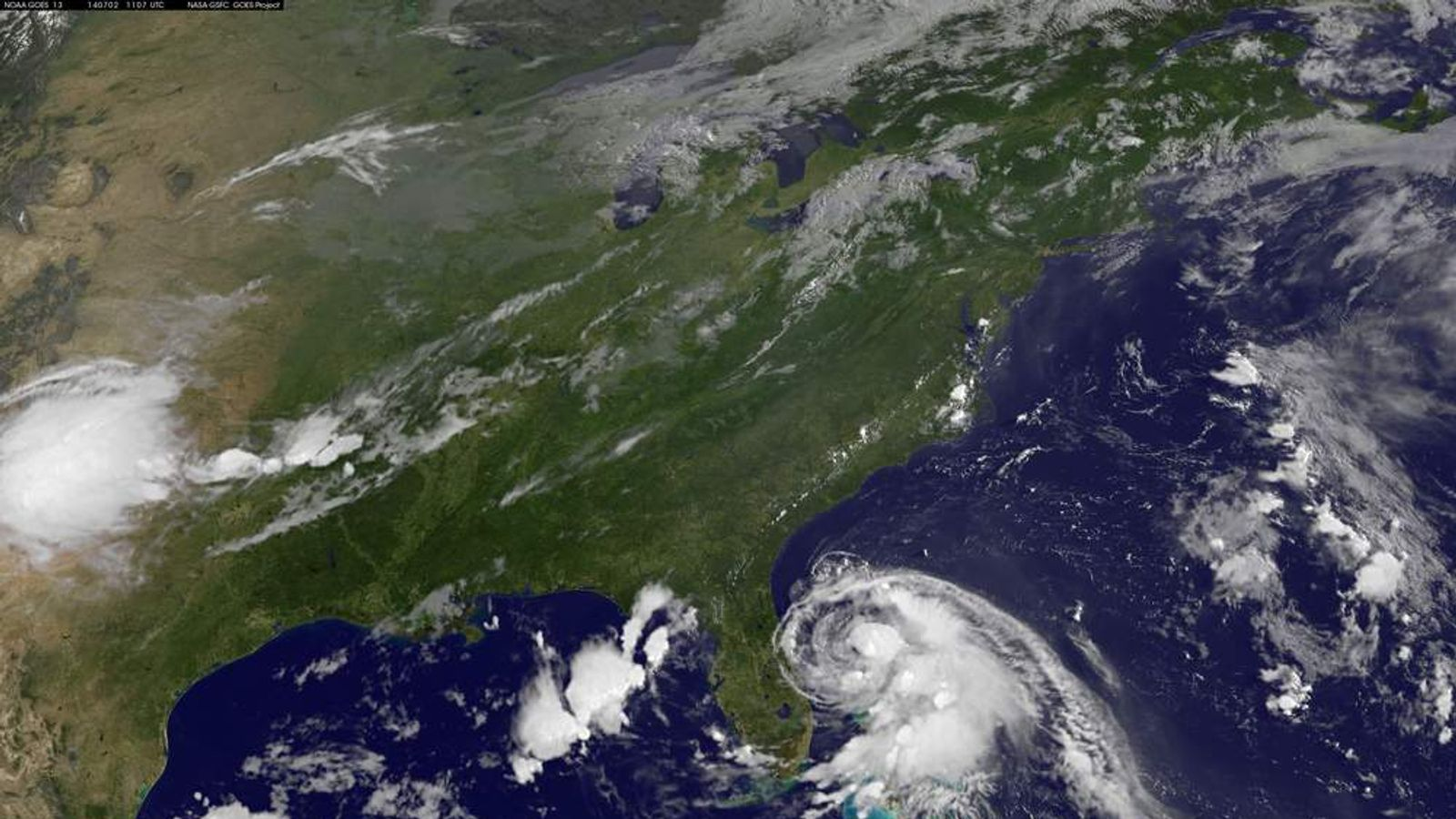 Tropical storm Arthur develops of the east coast of Florida