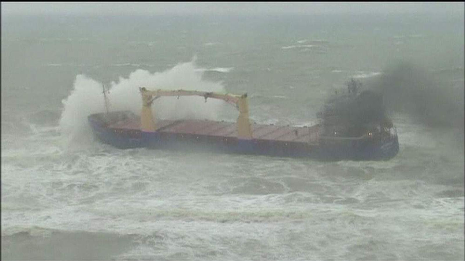 TURKEY Cargo Ship Runs Aground After Storms