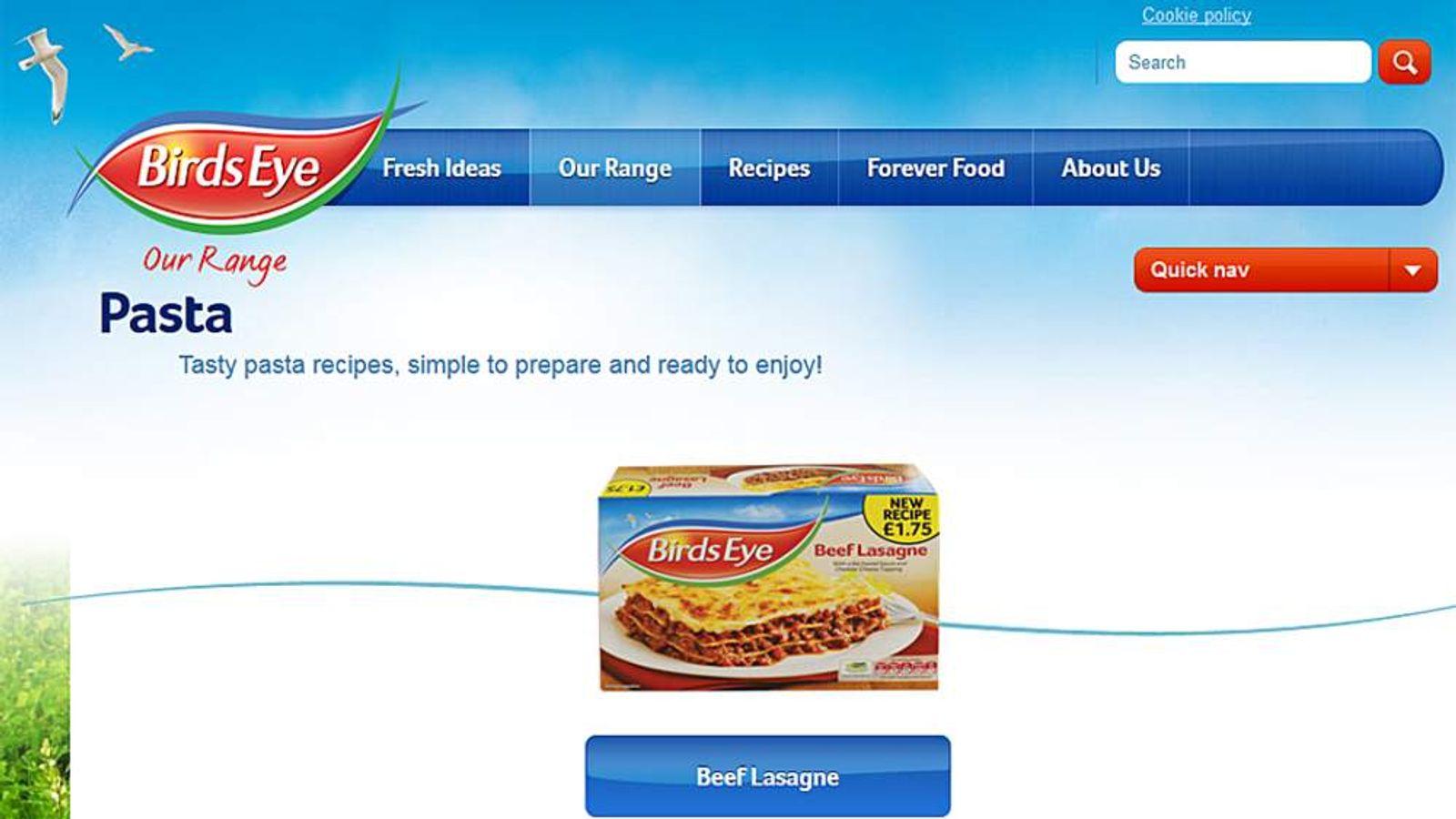 Birds Eye beef lasagne on its website