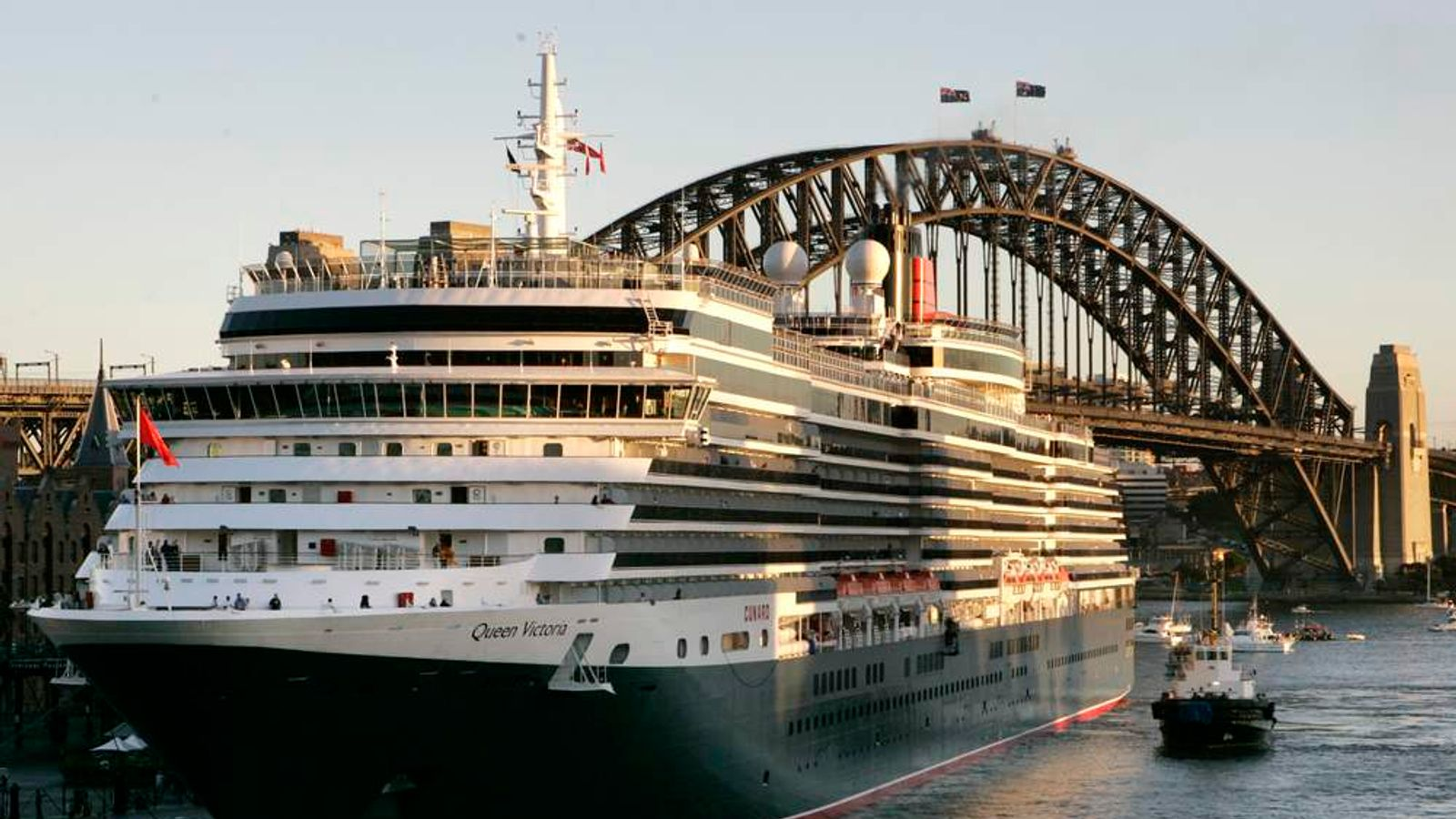 Cunard's newest ocean liner the Victoria is berthed at Circular Quay in Sydney
