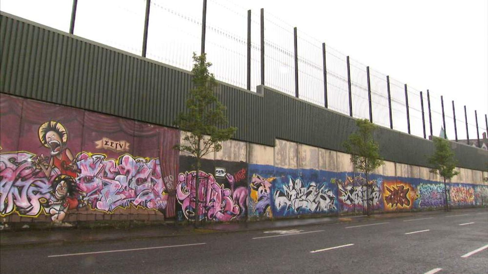 Part of a 'peace' wall in Northern Ireland