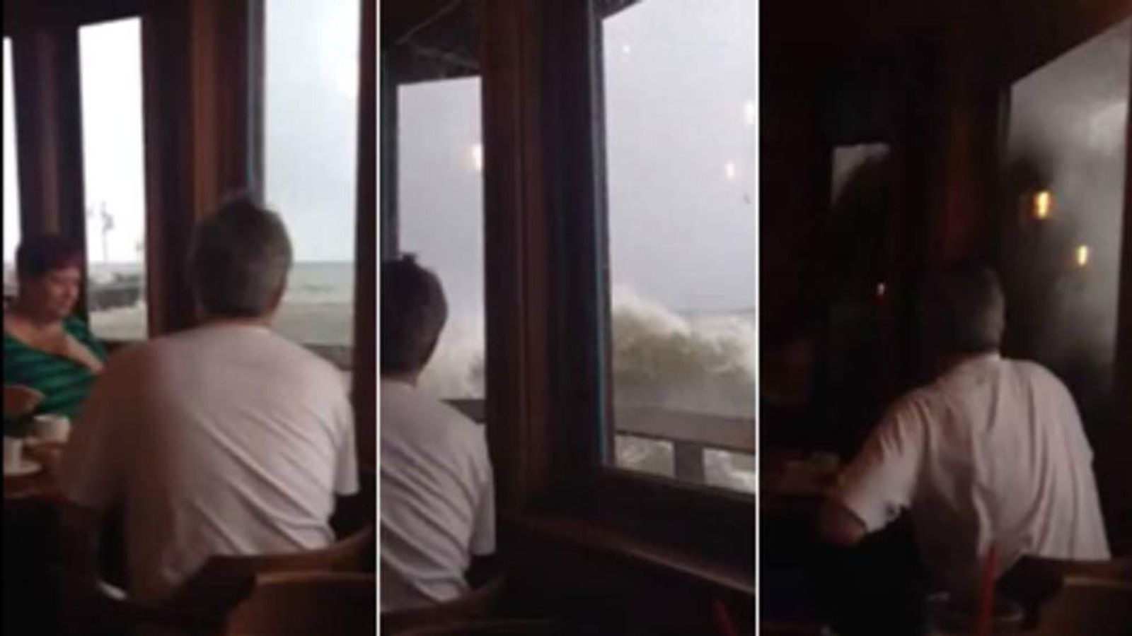 Moment wave hit the restaurant