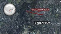 A map showing the location of Wells Park Road, Sydenham, southeast London