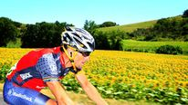 Lance Armstrong rides in the Tour de France