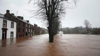 Flooded roads in Appleby in Cumbria, as Storm Desmond hits the UK.