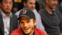 Ashton Kutcher at a basketball game in LA