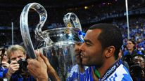 Ashley Cole of Chelsea celebrates after winning the Champions League final