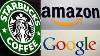 Starbucks, Amazon and Google logos