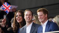 Princes William and Harry, and Kate