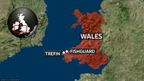 A map showing the location of Fishguard and Trefin in Wales
