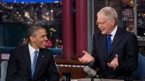US President Barack Obama and David Letterman