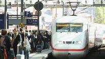A high-speed Deutsche Bahn ICE train at Berlin station