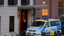 Police car is parked in front of the Swedish Prime Minister Fredrik Reinfeldt´s residence Sagerska Palace on November 9, 2012 in Stockholm.