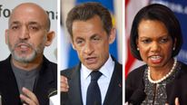 Kamid Karzi, Nicolas Sarkozy and Condoleeza Rice