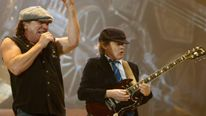 AC/DC lead vocalist Brian Johnson and lead guitarist Angus Young