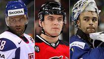 (L-R) Russian ice hockey players Pavol Demitra, Alexander Vasyunov and Stefan Liv