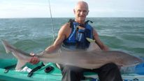 Tope shark caught whilst on a Kayak by angler Rupert Kirkwood
