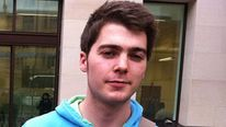 British university student Richard O'Dwyer outside Westminster Magistrates' Court