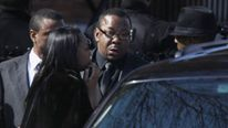 Bobby Brown leaves before Houston's funeral
