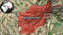 A map showing Bagram airbase