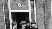 The Beatles on location in Twickenham for their film Help in 1965