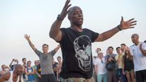 Ian Wright plays footvolley at Ipanema beach in Rio de Janeiro