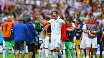 Omar Gonzalez of the United States reacts after the US booked its spot in the knock-out stage of the 2014 FIFA World Cup