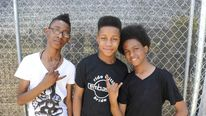 Unlocking the Truth, (L-R) Alec Atkins, Jarad Dawkins and Malcolm Brickhouse at 2014 Coachella Valley Music and Arts Festival