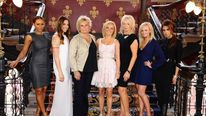 Jennifer Saunders (third right) and Judy Craymer (third left) pose with the Spice Girls