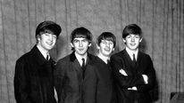 Members of The Beatles seen in February 1964