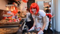 Samantha Cameron baking for Red Nose Day