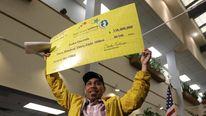 Pedro Quezada claims his jackpot
