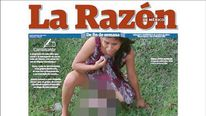 Front page of La Razon shows a woman who had to give birth on the lawn of a hospital as she was denied treatment