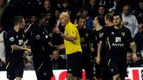 Norwich City's Sebastien Bassong speaks to referee Howard Webb