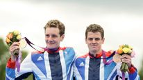 Alistair Brownlee (left) won triathlon gold and brother Jonny took bronze
