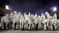 Revellers in unicorn costumes from the Grande Rio samba school participate in the second night of the annual Carnival parade in Rio de Janeiro's Sambadrome